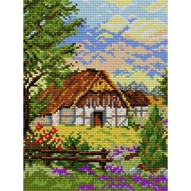 Haft krzyżykowy - do wyboru: kanwa z nadrukiem, nici Ariadna/DMC, wzór graficzny - Krajobraz z domem (No 5247)