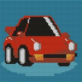 Haft krzyżykowy - do wyboru: kanwa z nadrukiem, nici Ariadna/DMC, wzór graficzny - Samochód (No 5254)