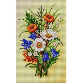 Haft krzyżykowy - do wyboru: kanwa z nadrukiem, nici Ariadna/DMC, wzór graficzny - Bukiet kwiatów (No 5231)