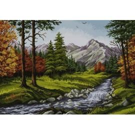 Haft krzyżykowy - do wyboru: kanwa z nadrukiem, nici Ariadna/DMC, wzór graficzny - Krajobraz górski - rzeka (No 7065)
