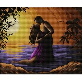 Haft krzyżykowy - do wyboru: kanwa z nadrukiem, nici Ariadna/DMC, wzór graficzny - Zachód słońca - zakochani (No 7066)