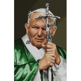 Haft krzyżykowy - do wyboru: kanwa z nadrukiem, nici Ariadna/DMC, wzór graficzny - Papież Jan Pawel II (No 7071)