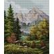 Haft krzyżykowy - do wyboru: kanwa z nadrukiem, nici Ariadna/DMC, wzór graficzny - Krajobraz górski (No 7074)
