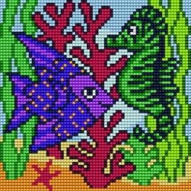 Haft krzyżykowy - do wyboru: kanwa z nadrukiem, nici Ariadna/DMC, wzór graficzny - Rybka z konikiem morskim (No 5600)