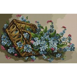 Haft krzyżykowy - do wyboru: kanwa z nadrukiem, nici Ariadna/DMC, wzór graficzny - Kwiaty w koszyku (No 7075)