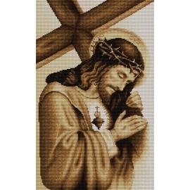 Haft krzyżykowy - do wyboru: kanwa z nadrukiem, nici Ariadna/DMC, wzór graficzny - Jezus z krzyżem (No 7048) VI