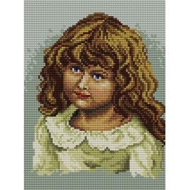 Haft krzyżykowy - do wyboru: kanwa z nadrukiem, nici Ariadna/DMC, wzór graficzny - Dziewczynka (No 5414)