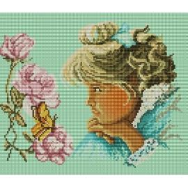 Haft krzyżykowy - do wyboru: kanwa z nadrukiem, nici Ariadna/DMC, wzór graficzny - Dziewczynka z motylkiem (No 5327)