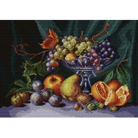 Haft krzyżykowy - do wyboru: kanwa z nadrukiem, nici Ariadna/DMC, wzór graficzny - Martwa natura, patera z owocami (No 7081) VI