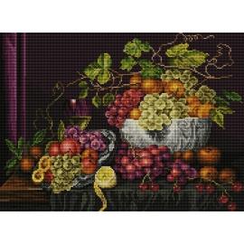 Haft krzyżykowy - do wyboru: kanwa z nadrukiem, nici Ariadna/DMC, wzór graficzny - Martwa natura - waza z owocami (No 7083) VI