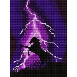 Haft krzyżykowy - do wyboru: kanwa z nadrukiem, nici Ariadna/DMC, wzór graficzny - Koń podczas burzy (No 5095)
