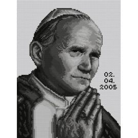 Haft krzyżykowy - do wyboru: kanwa z nadrukiem, nici Ariadna/DMC, wzór graficzny - Jan Paweł II (No 7068)