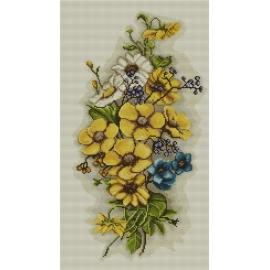 Haft krzyżykowy - do wyboru: kanwa z nadrukiem, nici Ariadna/DMC, wzór graficzny - Kompozycja kwiatowa (No 7090)