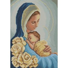 Haft krzyżykowy - do wyboru: kanwa z nadrukiem, nici Ariadna/DMC, wzór graficzny - Madonna z dzieciątkiem (No 7088)