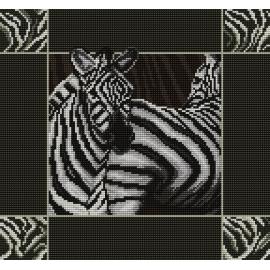 Haft krzyżykowy - do wyboru: kanwa z nadrukiem, nici Ariadna/DMC, wzór graficzny - Zebry (No 7095) VI