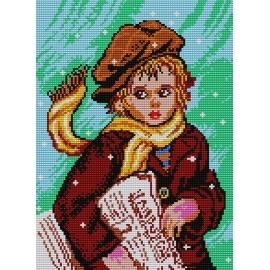 Haft krzyżykowy - do wyboru: kanwa z nadrukiem, nici Ariadna/DMC, wzór graficzny - Chłopiec z gazetami (No 371)