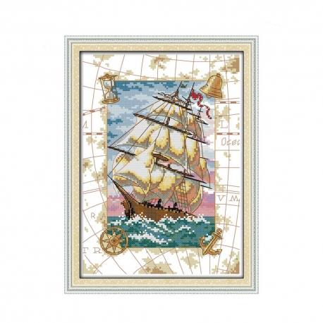 Zestaw do haftowania - Pejzaż morski statek na morzu jacht