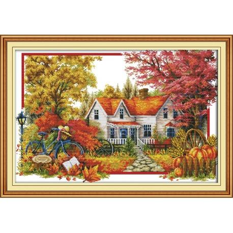 Zestaw do haftu krzyżykowego - Pejzaż jesienny ogród
