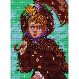 Haft krzyżykowy - do wyboru: kanwa z nadrukiem, nici Ariadna/DMC, wzór graficzny - Dziewczynka z parasolem (No 370)