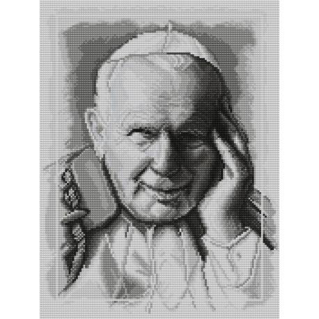 Haft krzyżykowy - do wyboru: kanwa z nadrukiem, nici Ariadna/DMC, wzór graficzny - Jan Paweł II (No 7104)