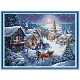 Zestaw do haftu krzyżykowego - Pejzaż zimowy świąteczny