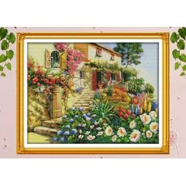 obraek do haftowania - nadmorska rezydencja, kwiaty dom w kwiatach