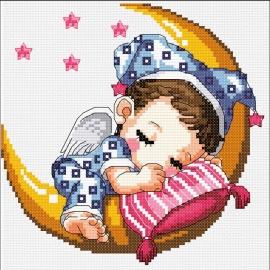 Spięce dziecko na księżycu - słodki obrazek do haftowania dla dzieci