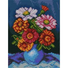 Haft krzyżykowy - do wyboru: kanwa z nadrukiem, nici Ariadna/DMC, wzór graficzny - Kwiaty w wazonie (No 5433)