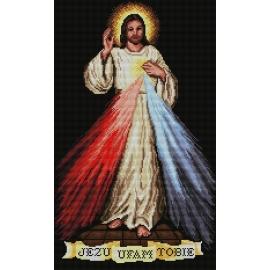 Haft krzyżykowy - do wyboru: kanwa z nadrukiem, nici Ariadna/DMC, wzór graficzny - Jezu, ufam Tobie (No 7106) VI