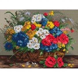 aida z nadrukiem do haftu polne kwiaty