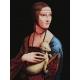 Haft krzyżykowy - do wyboru: kanwa z nadrukiem, nici Ariadna/DMC, wzór graficzny - Dama z łasiczką Leonardo da Vinci (No 7107)