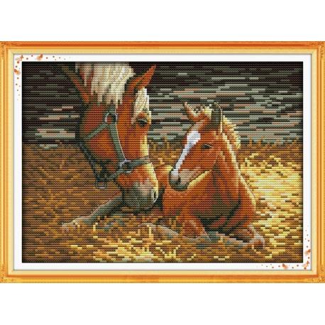 Konie - obrazek zestaw do haftowania