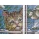 Haft krzyżykowy - Kot i ptaki wzór na papierze do haftu