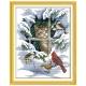 Aida 14ct z nadrukiem wzór liczony na papierze - kot i ptaki