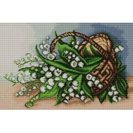Haft krzyżykowy - do wyboru: kanwa z nadrukiem, nici Ariadna/DMC, wzór graficzny - Konwalie w koszyku (No 7119) VI