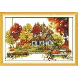 cztery pory roku haft krzyzkowy jesien