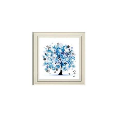 Haft krzyżykowy - Cztery pory roku z drzewem - 4. Zima - kanwa z nadrukiem