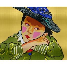 Haft krzyżykowy - do wyboru: kanwa z nadrukiem, nici Ariadna/DMC, wzór graficzny - Dziewczynka w kapeluszu (No 364)