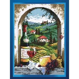 Haft krzyżykowy - martwa natura wino- zestaw do haftu na gładkiej kanwie