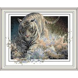 Haft krzyżykowy - Tygrys - zestaw do haftu na aida 14 ct kanwa