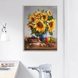 Haft krzyżykowy - Słoneczniki w wazonie - zestaw do haftu na gładkiej kanwie