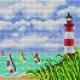 Haft krzyżykowy - do wyboru: kanwa z nadrukiem, nici Ariadna/DMC, wzór graficzny - Latarnia morska (No 5643)