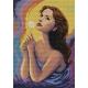 Haft krzyżykowy - do wyboru: kanwa z nadrukiem, nici Ariadna/DMC, wzór graficzny - Kobieta z dmuchawcem (No 7111)