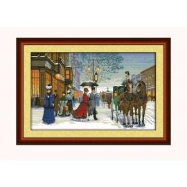 paryż konie-dorozka obrazek do haftu krzyzykiem sklep pasmanteria internetowa