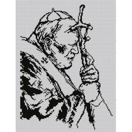 Haft krzyżykowy - do wyboru: kanwa z nadrukiem, nici Ariadna/DMC, wzór graficzny - Jan Paweł II (No 7108) VI