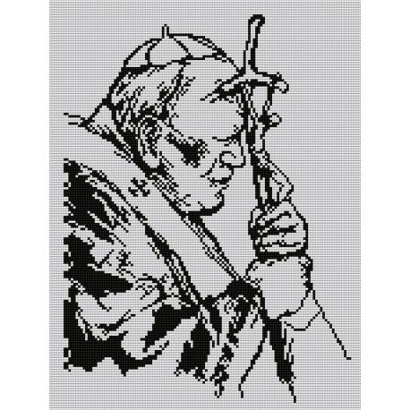 Haft krzyżykowy - do wyboru: kanwa z nadrukiem, nici Ariadna/DMC, wzór graficzny - Jan Paweł II (No 7108)