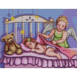 Haft krzyżykowy - do wyboru: kanwa z nadrukiem, nici Ariadna/DMC, wzór graficzny Anioł stróż z dziewczynką (No 7120)