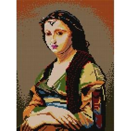 Haft krzyżykowy - do wyboru: kanwa z nadrukiem, nici Ariadna/DMC, wzór graficzny - Kobieta z perłą wg J.B.C. Corot (No 368)