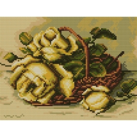 Haft krzyżykowy - do wyboru: kanwa z nadrukiem, nici Ariadna/DMC, wzór graficzny - Róże w koszyku (No 5436)