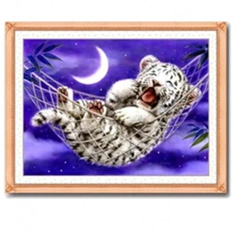 tygrys w hamaku - Zestaw do haftu z nićmi